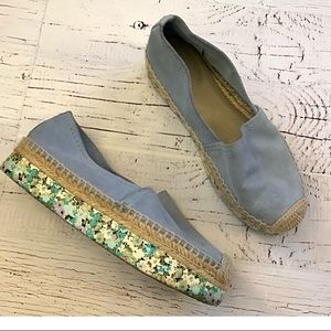 Tory Burch leather suede espadrille platfo…